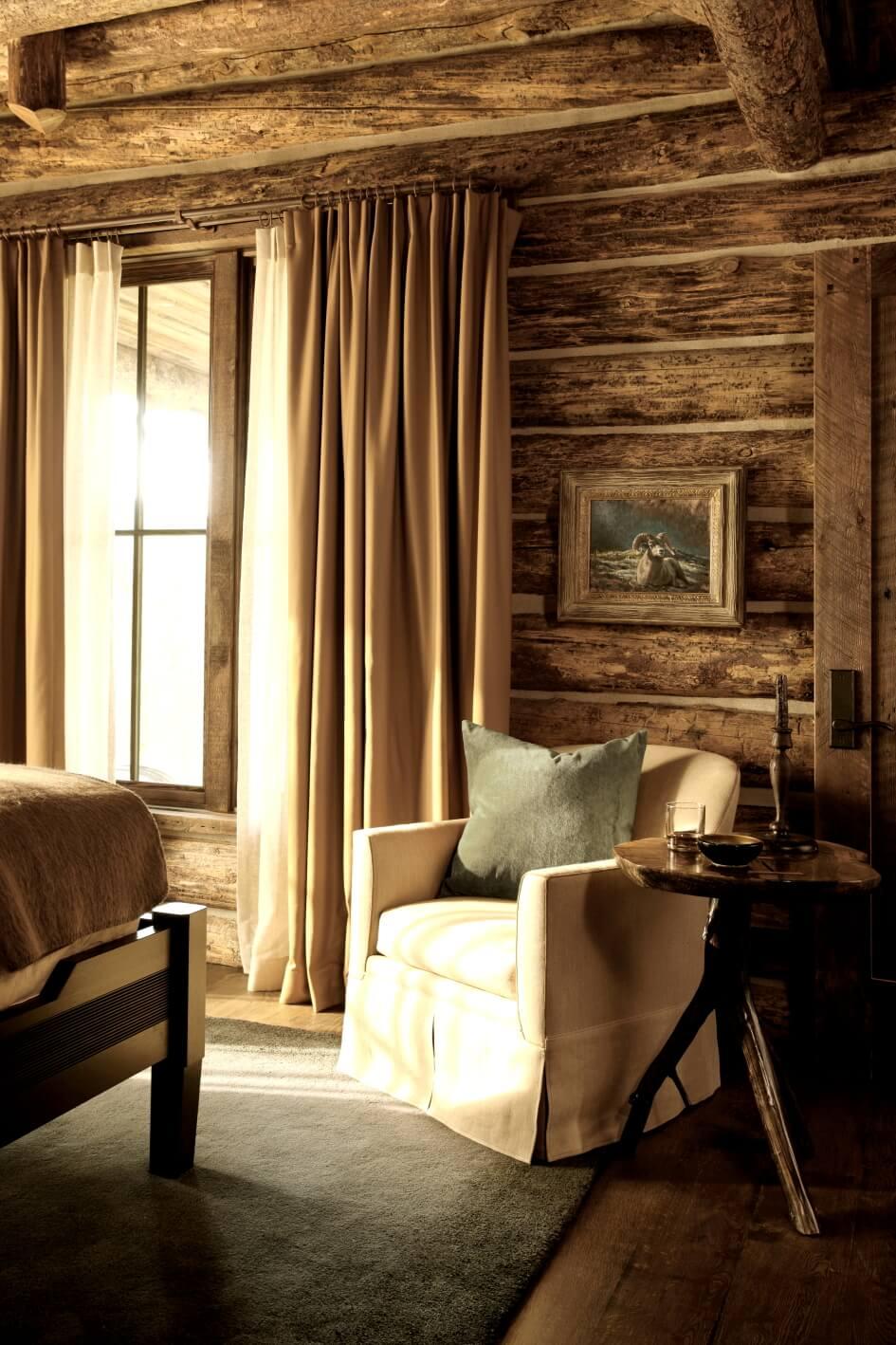 wood wall, floor, ceiling, mini table, bedroom design ideas