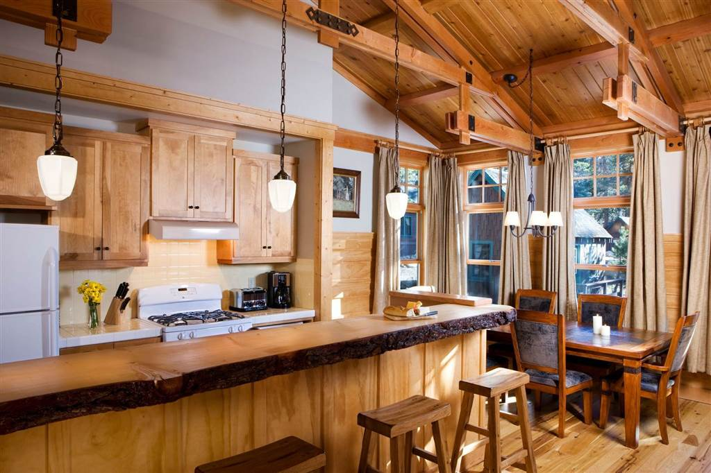 wood bar with chair, wooden beam ceiling and floor, kitchen design ideas