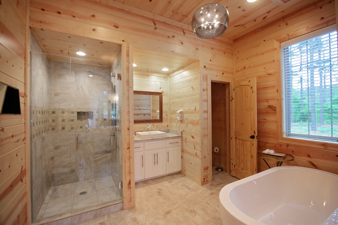 wood wall and ceiling, cabin bathroom design ideas