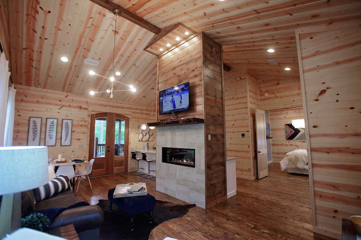 wood wall, floor and ceiling, cabin design ideas, fireplace cabin