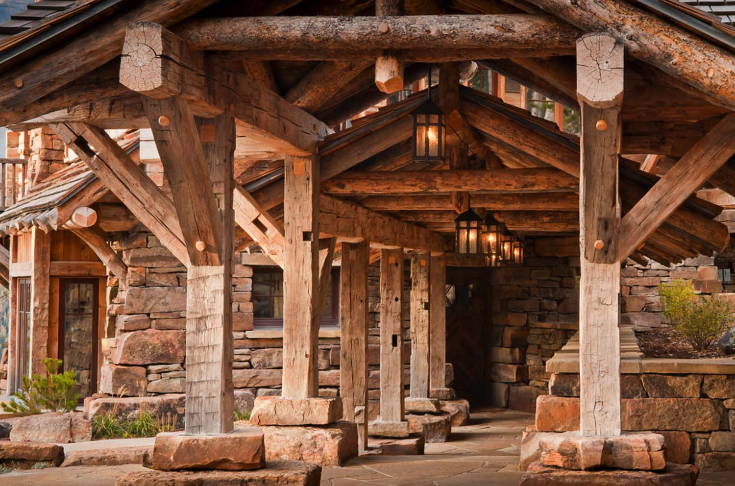 Wooden entrance, wood pillars, beam, design ideas