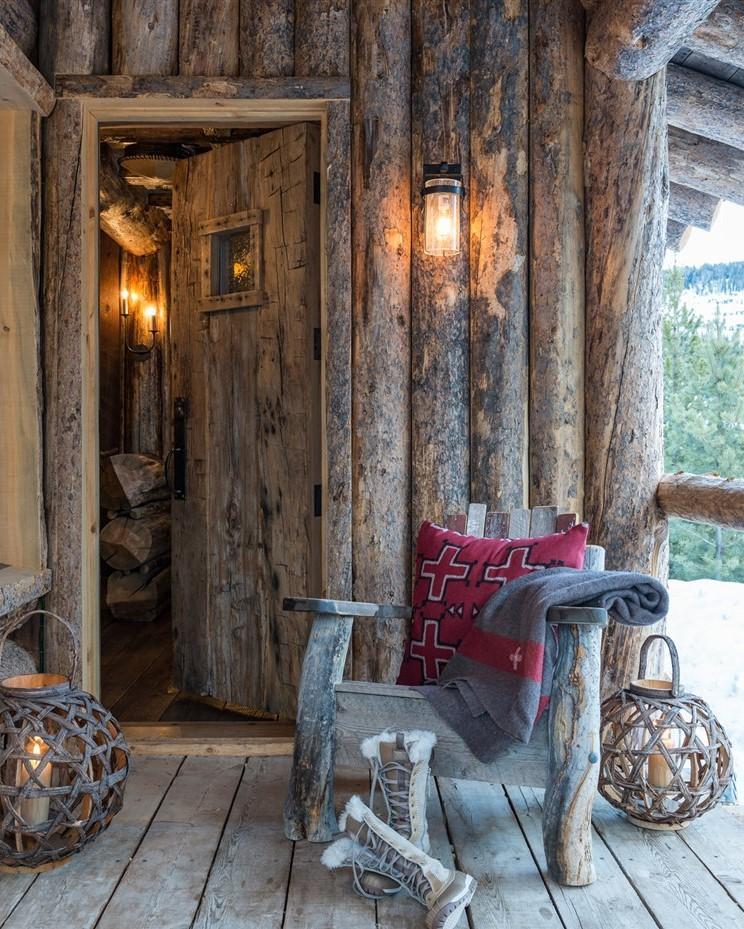 wood log cabin terrace design ideas