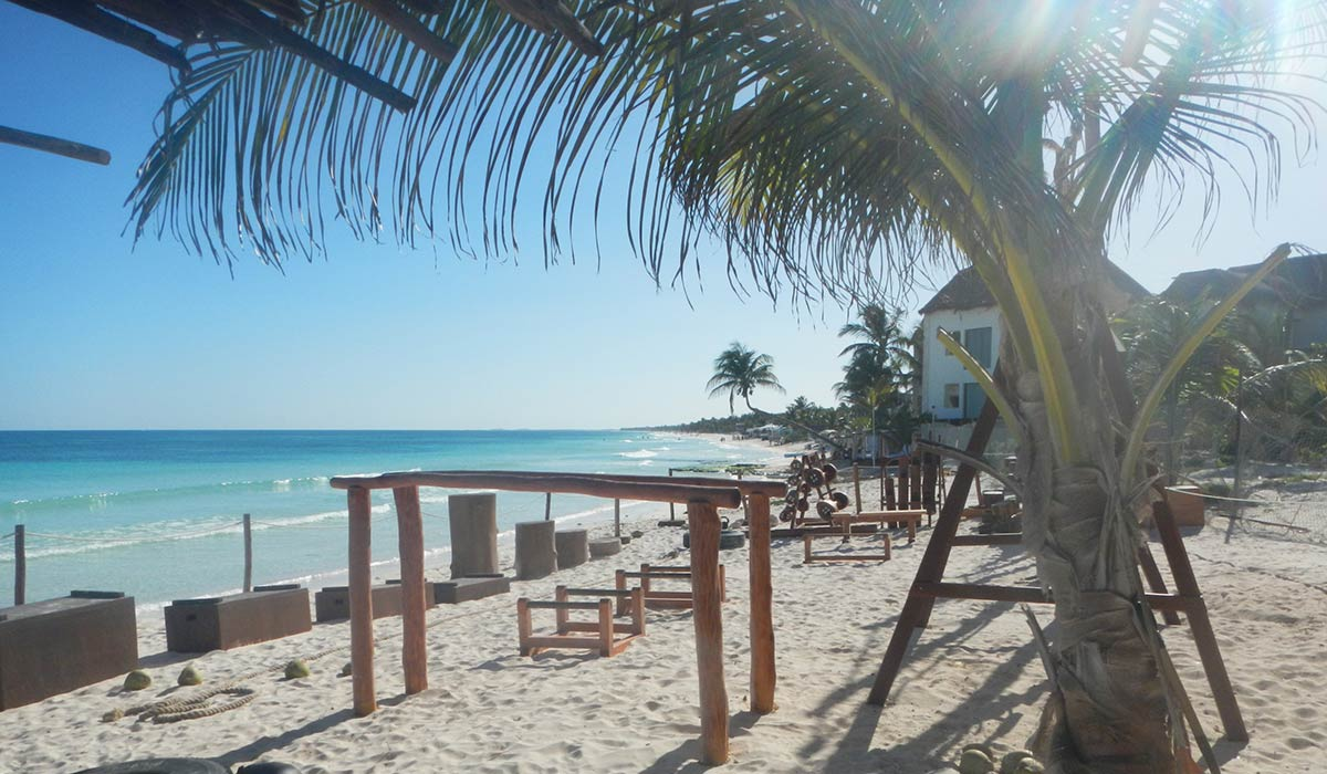 Experience a Stone age-Caribbean Coast-get in shape treatment in Tulum, Mexico, by visiting a local Jungle Gym.