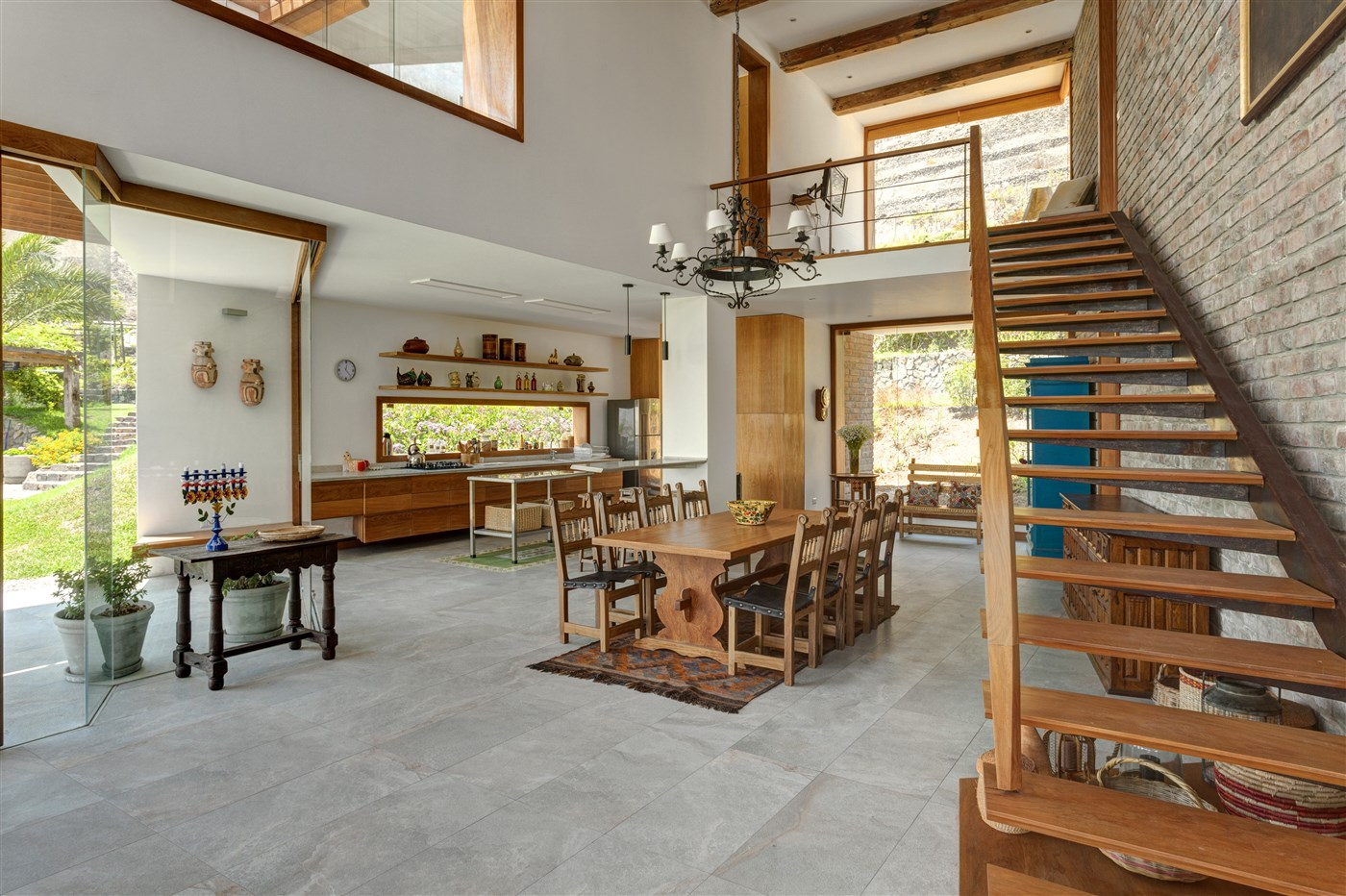 wood stairs, wood dining table design ideas