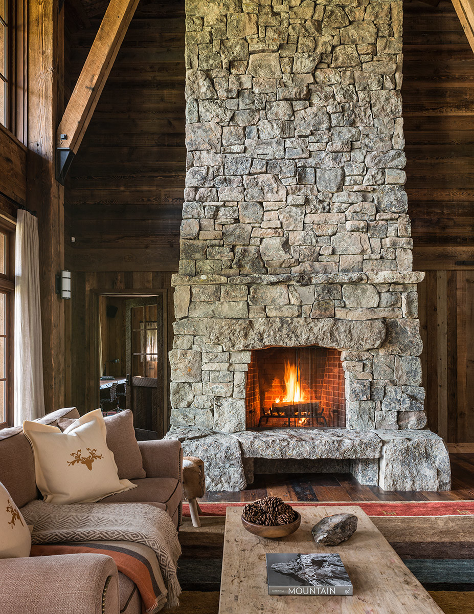 wooden living room design ideas, cozy fireplace