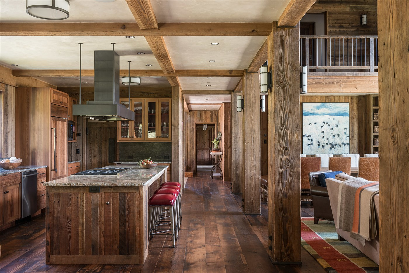 wood floor, beam ceiling design ideas, kitchen