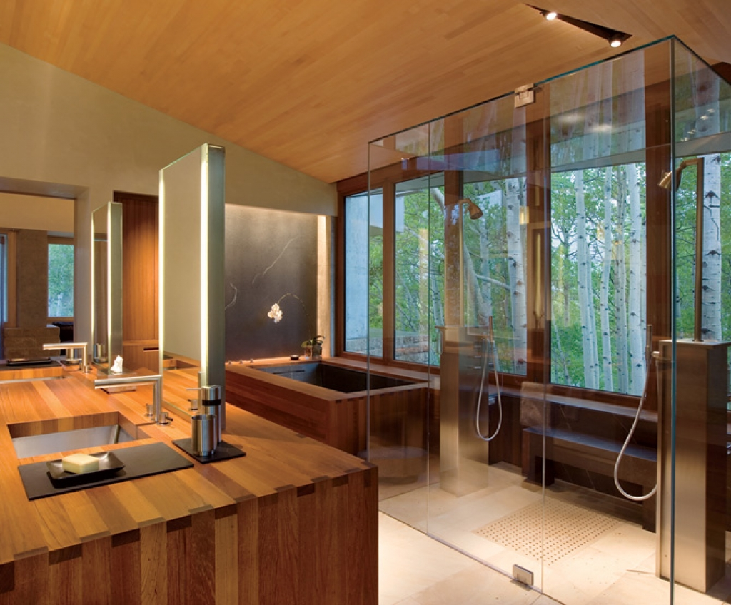 cozy modern wood bathroom design ideas