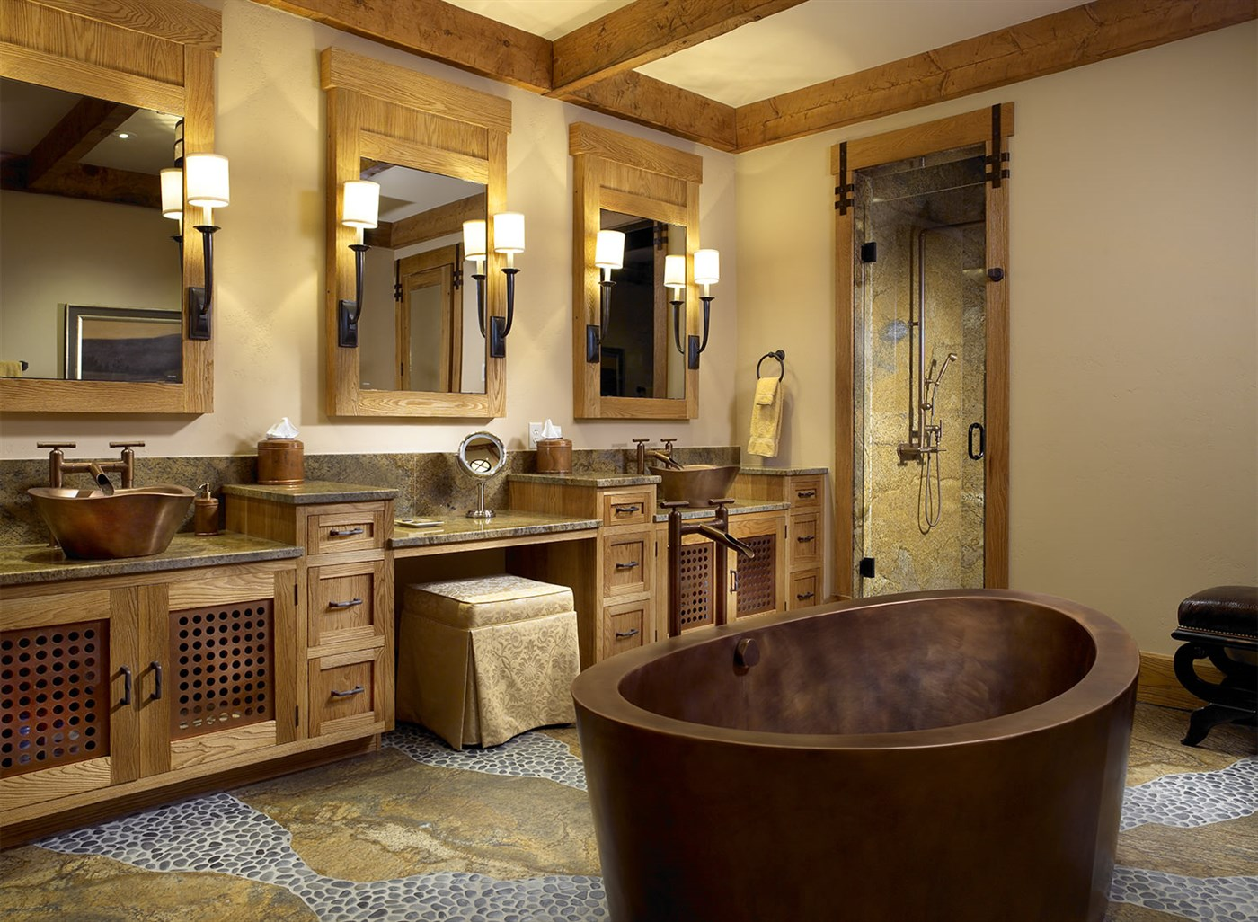 Cozy wood bathroom ideas
