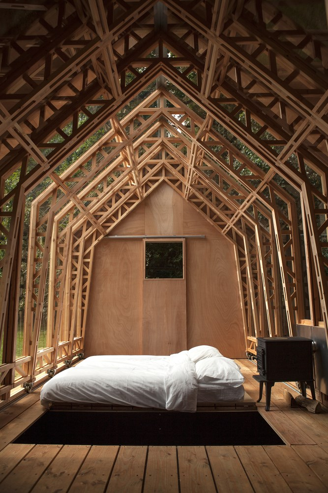 Wood bedroom in garden house, shed design ideas