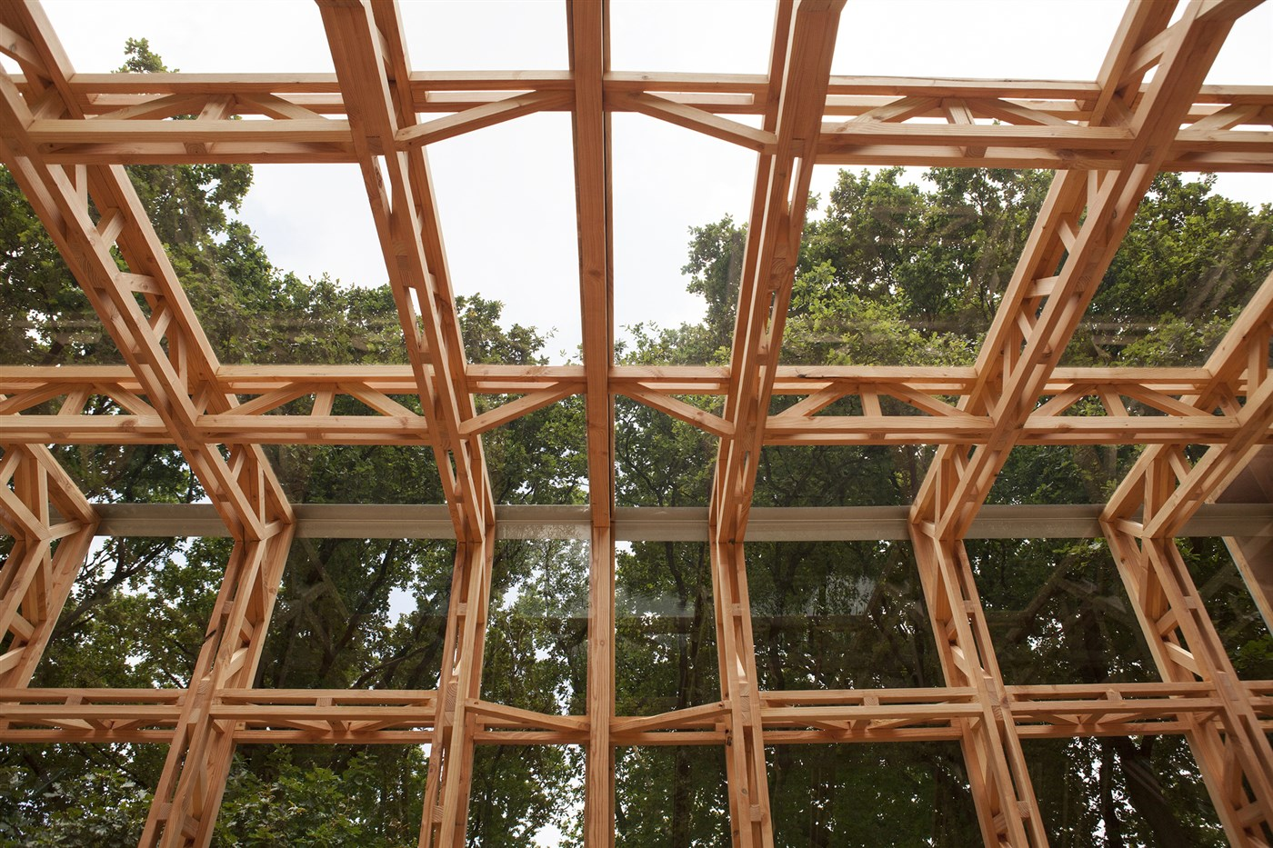 Wood dynamic garden house ceiling