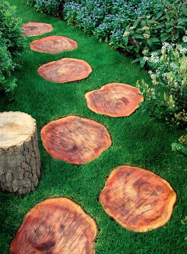 Wood log path design ideas