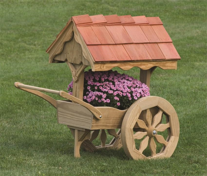 Wood cart planter design ideas