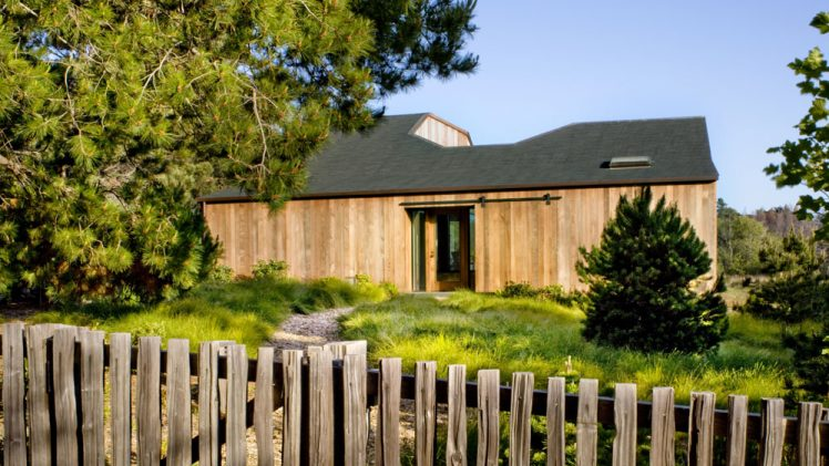 The site for this small Sea Ranch house is edged with mature evergreen trees and opens to a meadow with ...
