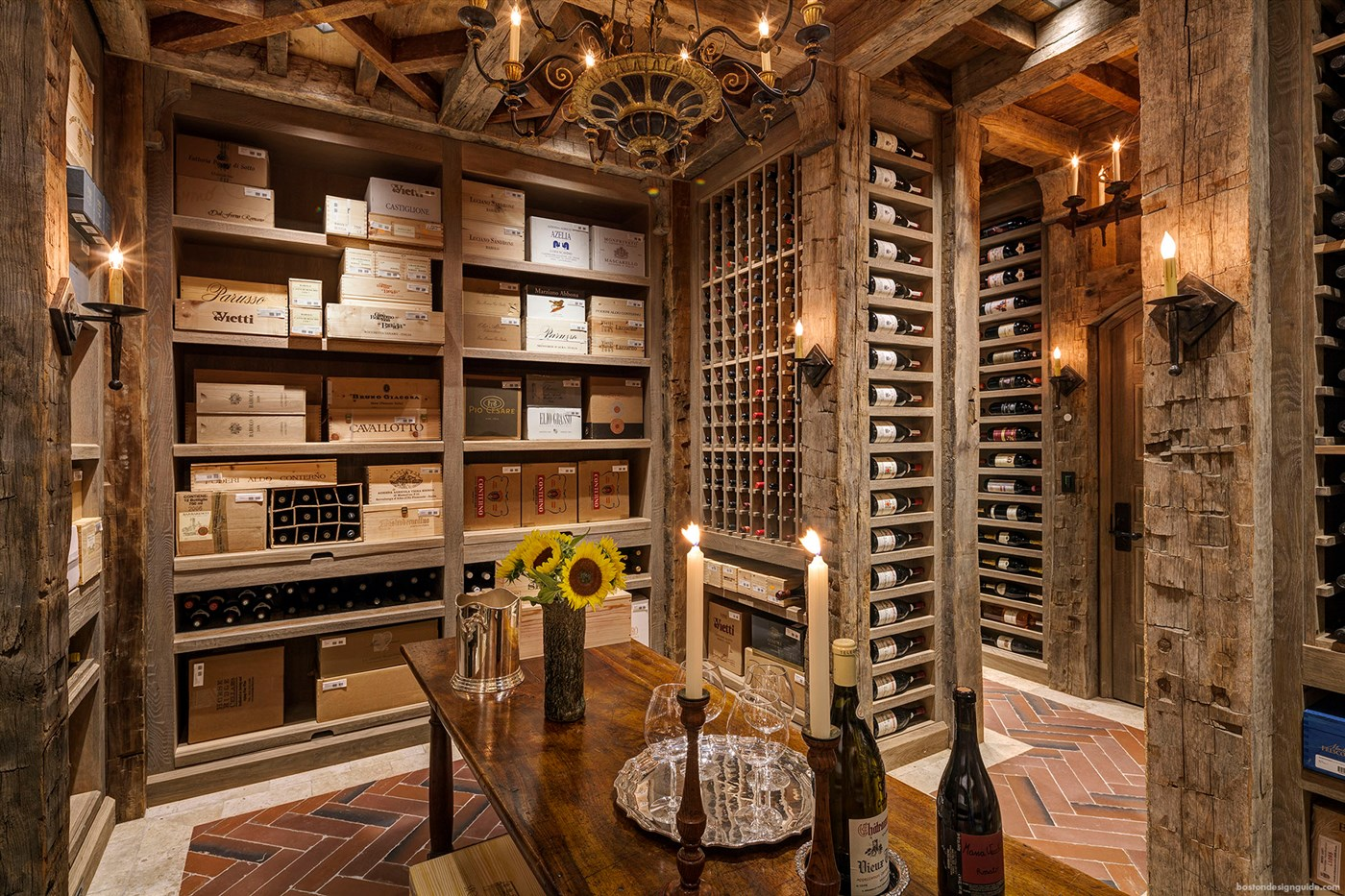 Wood home ideas interior design forest cabins for Home wine cellar designs