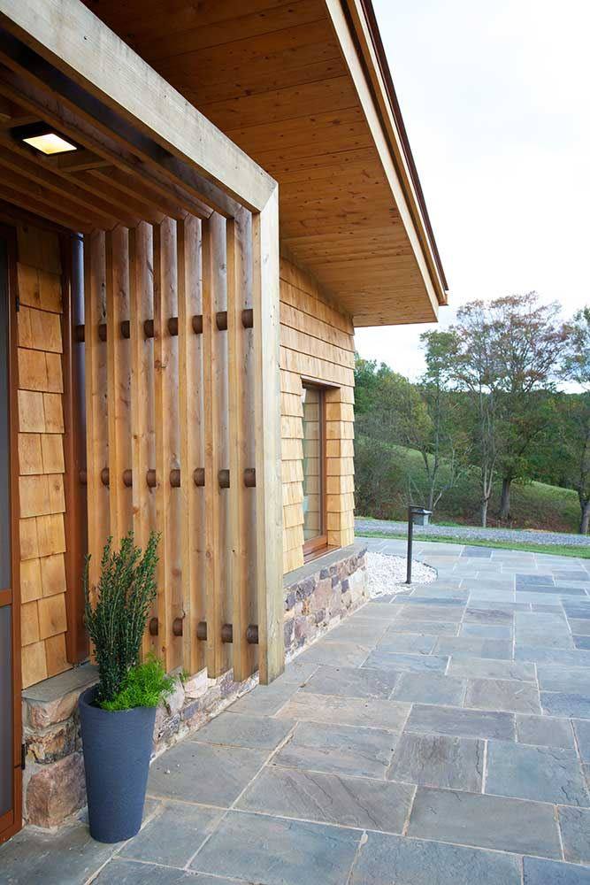 Wooden wall, wood facade, cozy entrance
