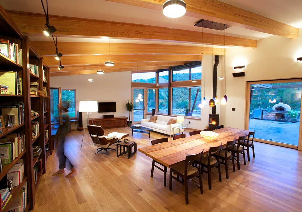 wood dining room, wooden table, cozy wood ceiling and floor