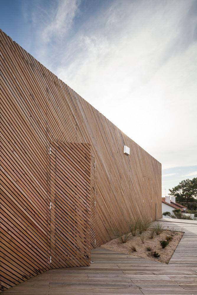 wood facade and floor, wooden doors