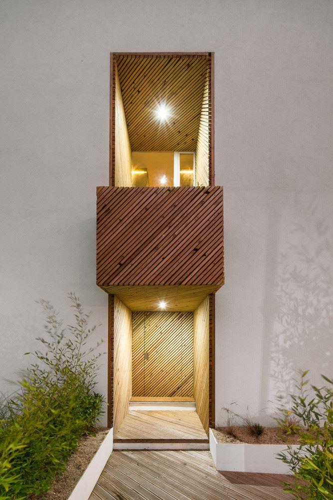 wood balcony, entrance