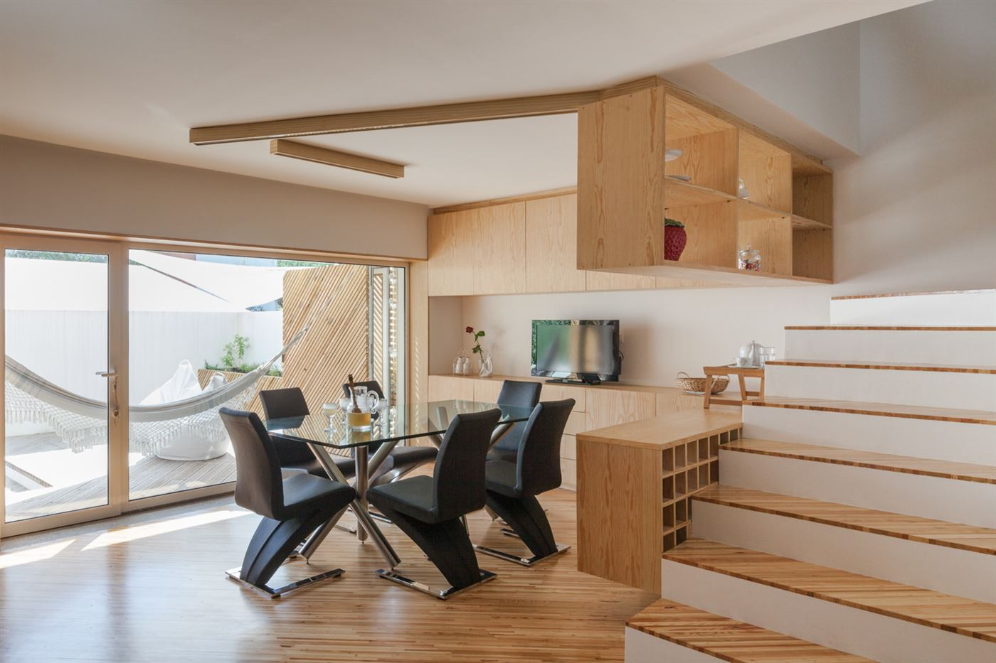 wood floor and beam, wooden stairs and furniture