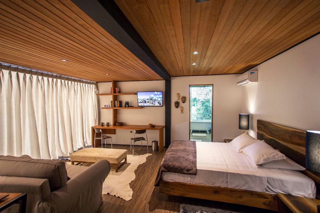 wood bed, floor and ceiling, wooden interior, bedroom