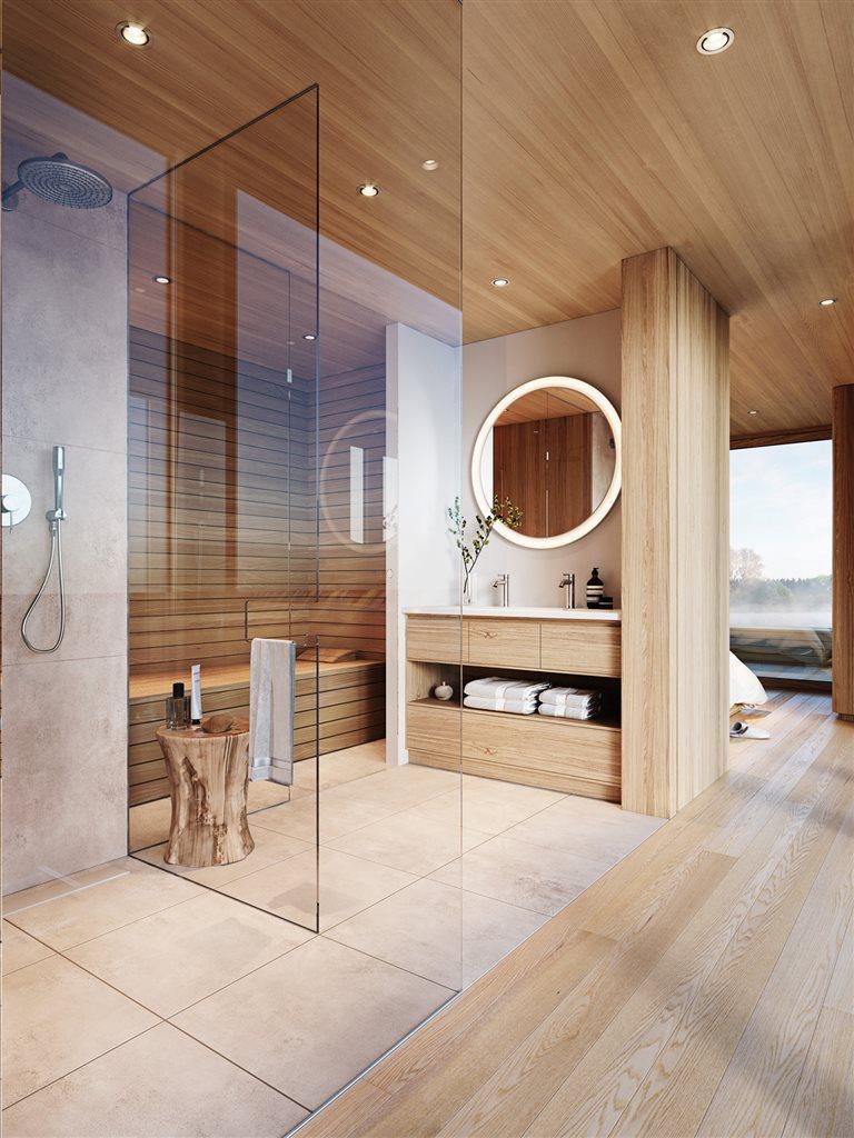 wood wall and floor, wooden bathroom