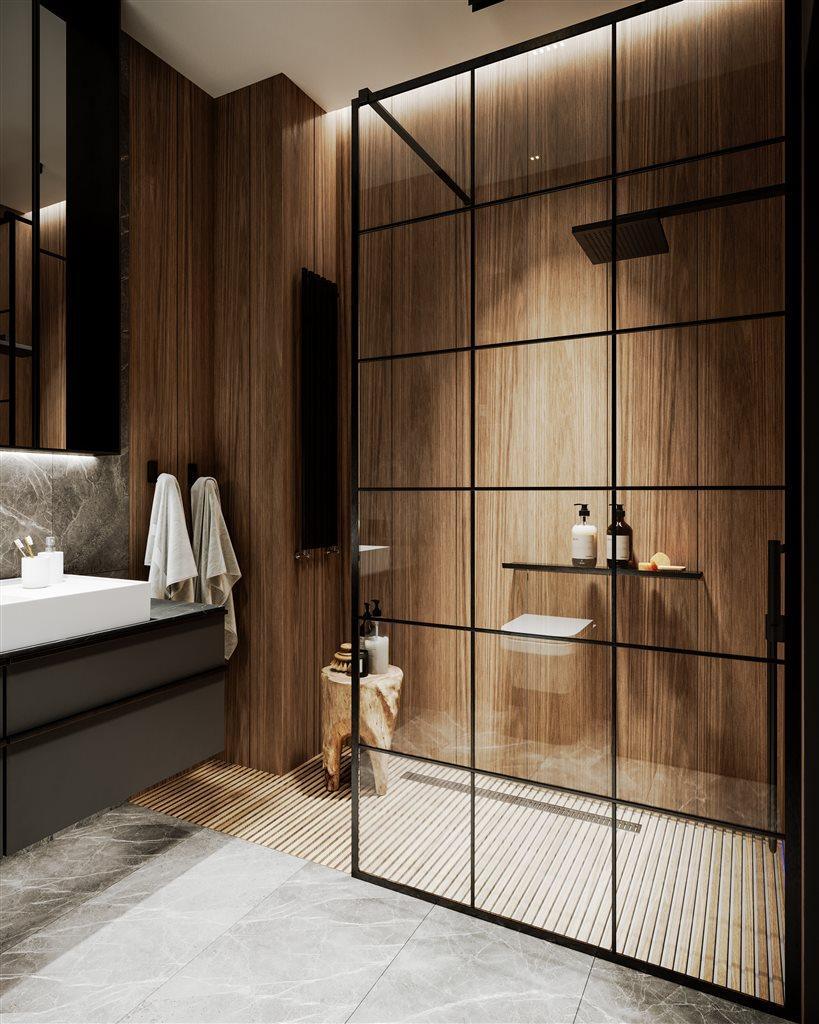 wood wall, wooden bathroom