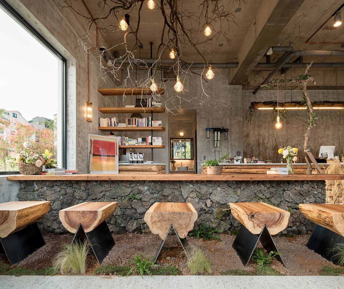 Wood bar, log chair, cozy cafe