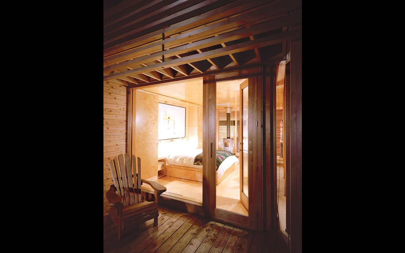 Wood terrace, wall and ceiling, cabin love