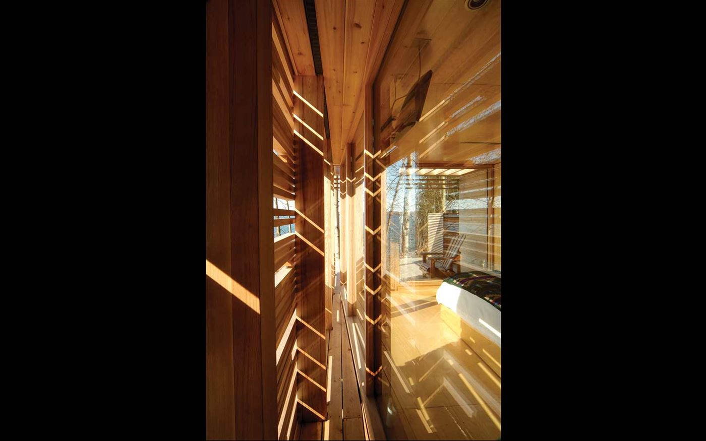 wood facade, cabin interior