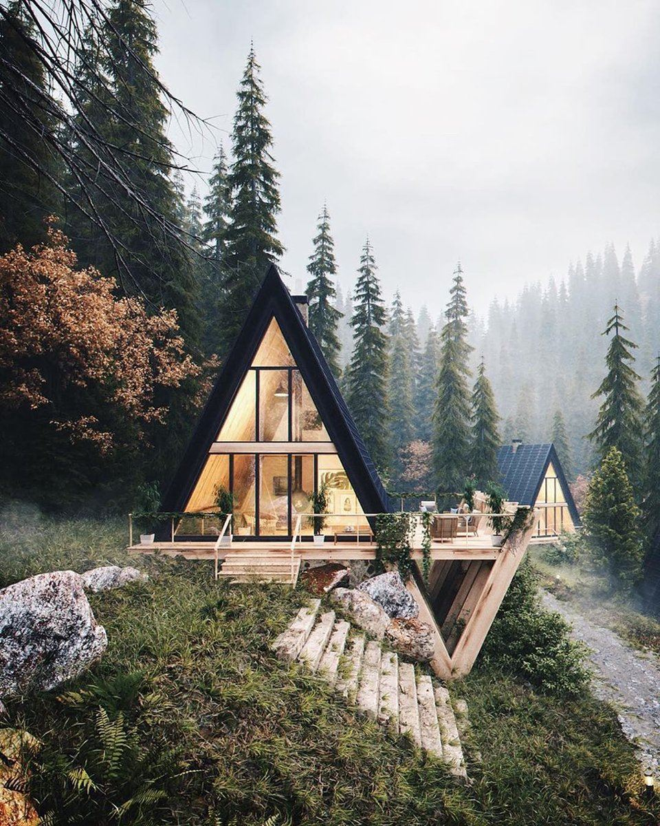 Wood beams and floor, triangle cabin