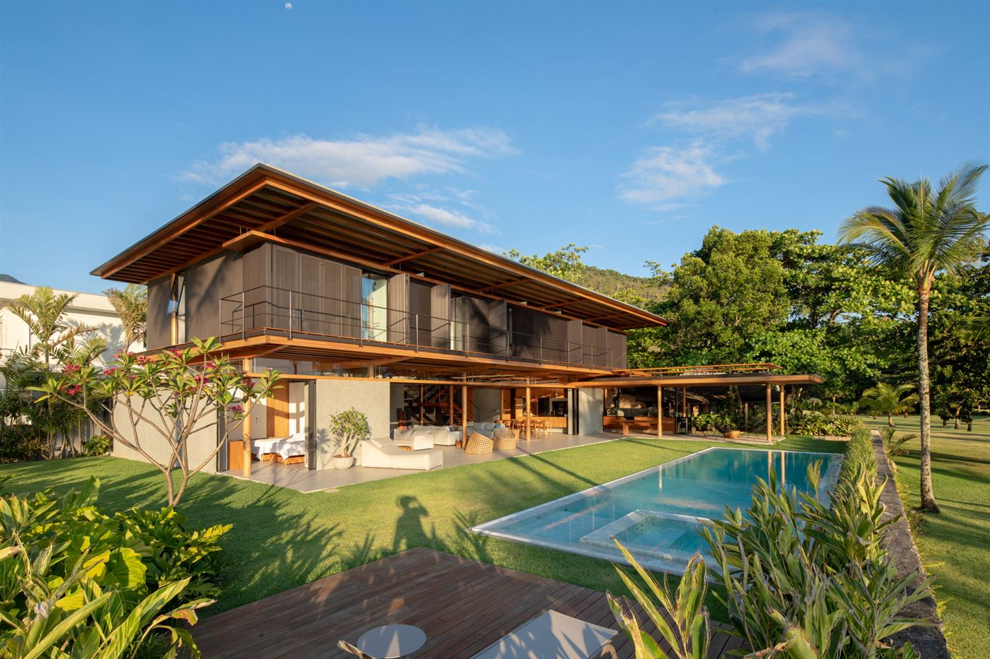 Wood house with pool, exterior design
