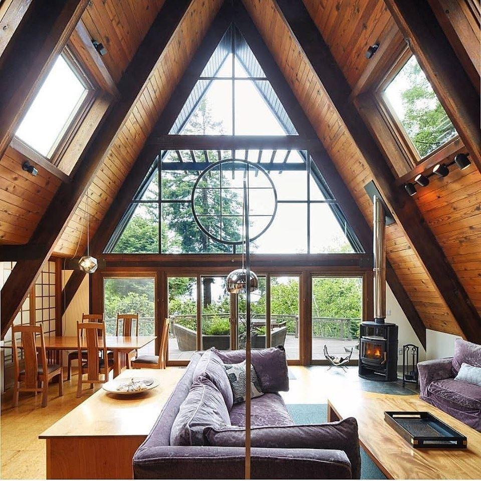 A frame wood interior design