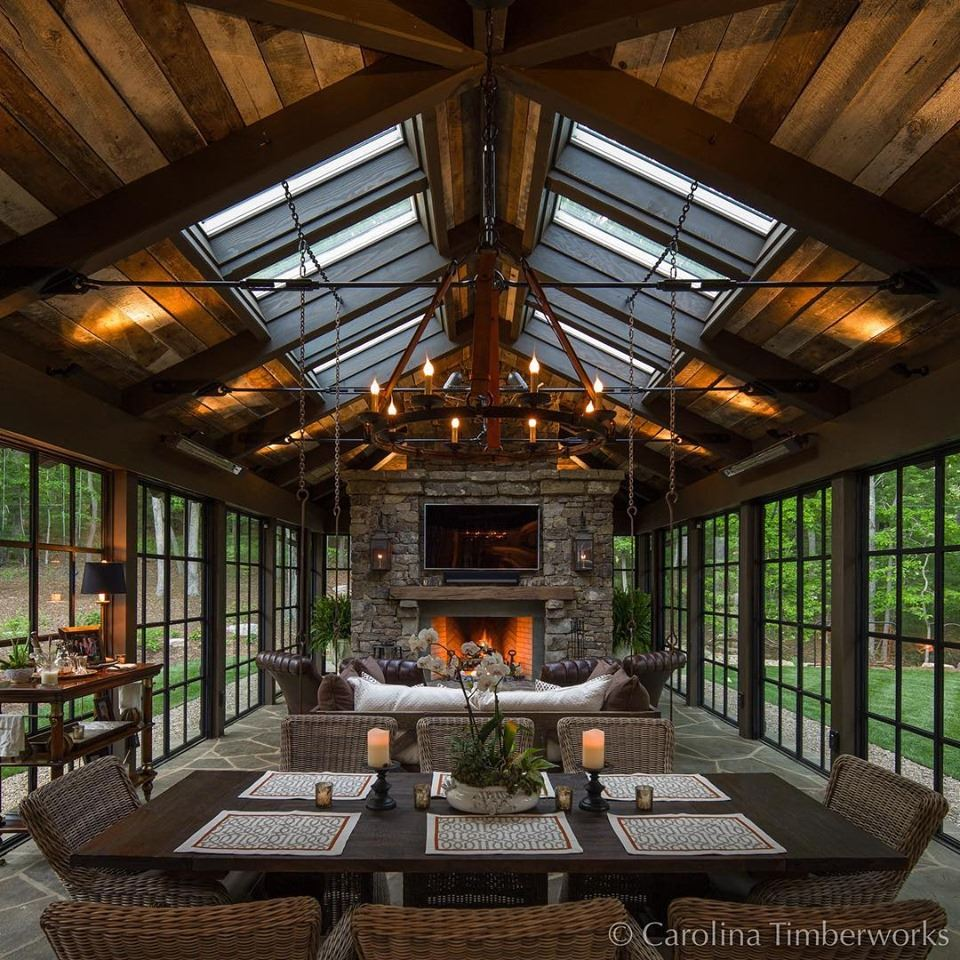 wood ceiling, cozy fireplace living room interior