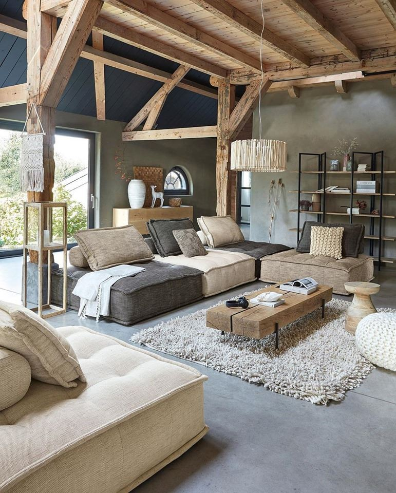 wood beam and table, living room ideas