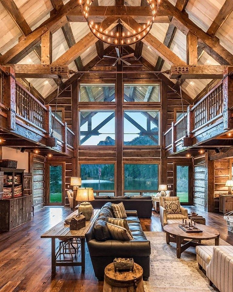 wood balcony, beam and wall, living room design