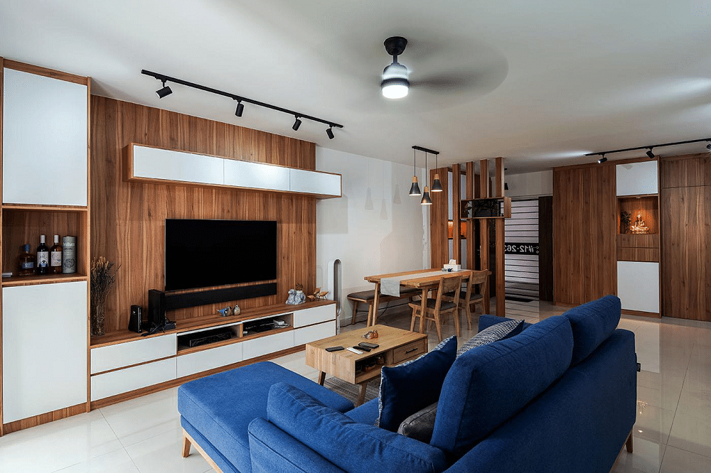 Wood wall and table, wooden luxury interior design