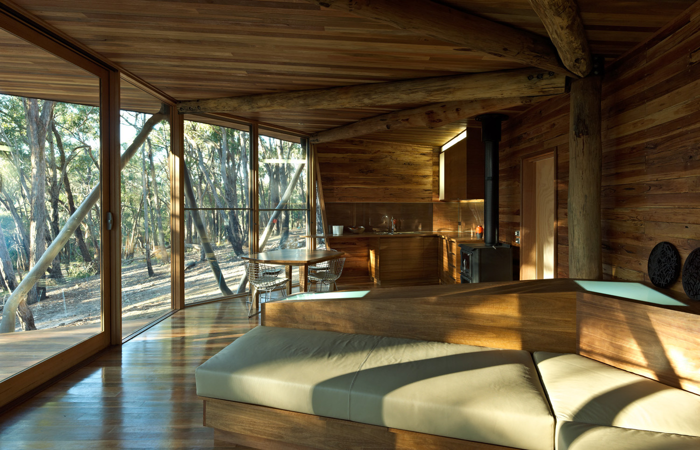 wood ceiling, floor and furniture, cabin interior
