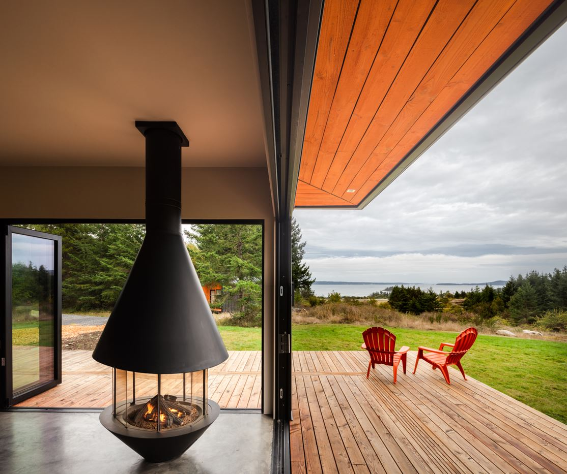 wood porch and fireplace