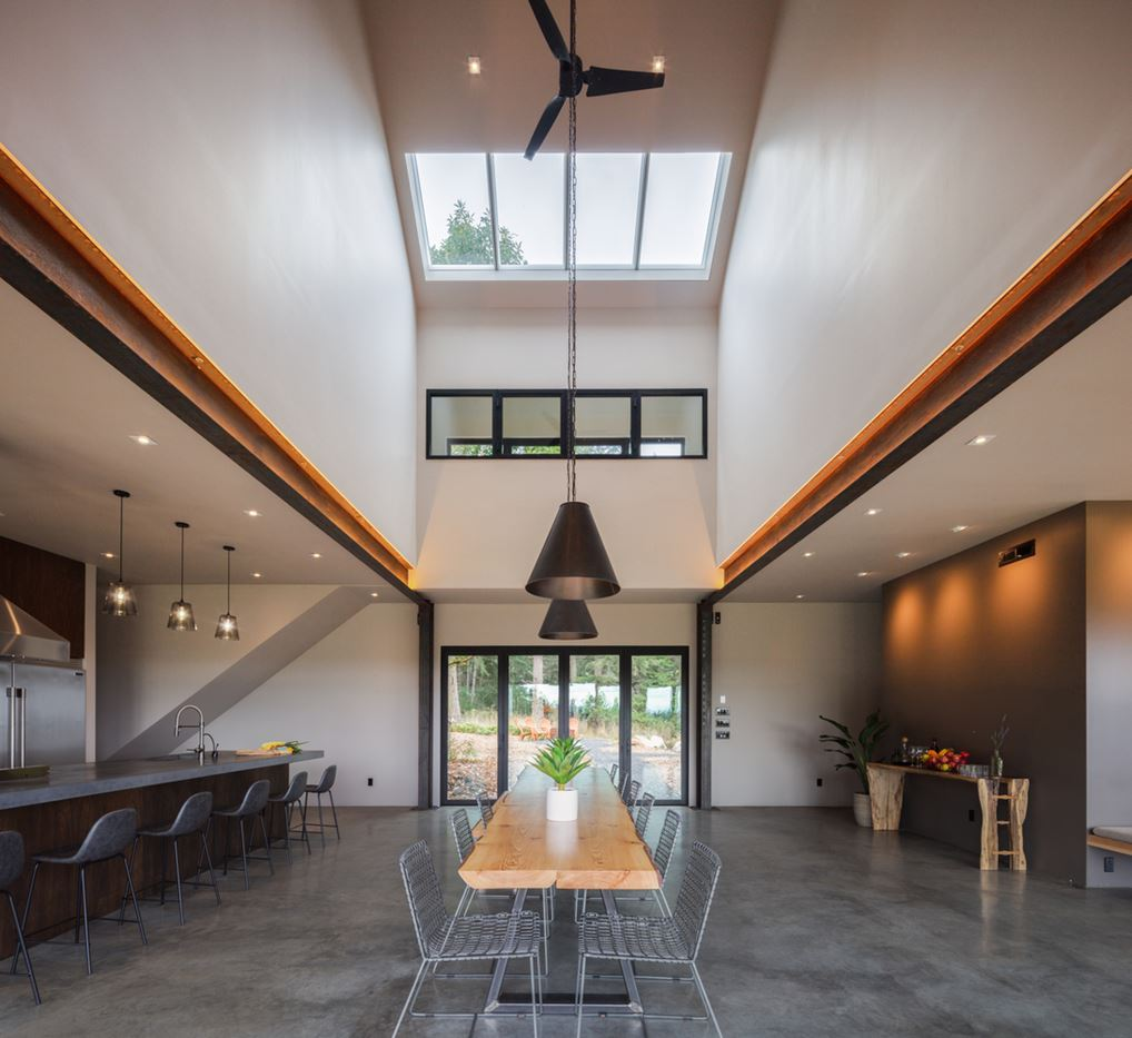 wood beam and table, interior design