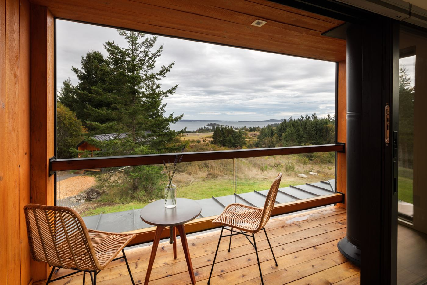 wood porch and chairs, cozy view