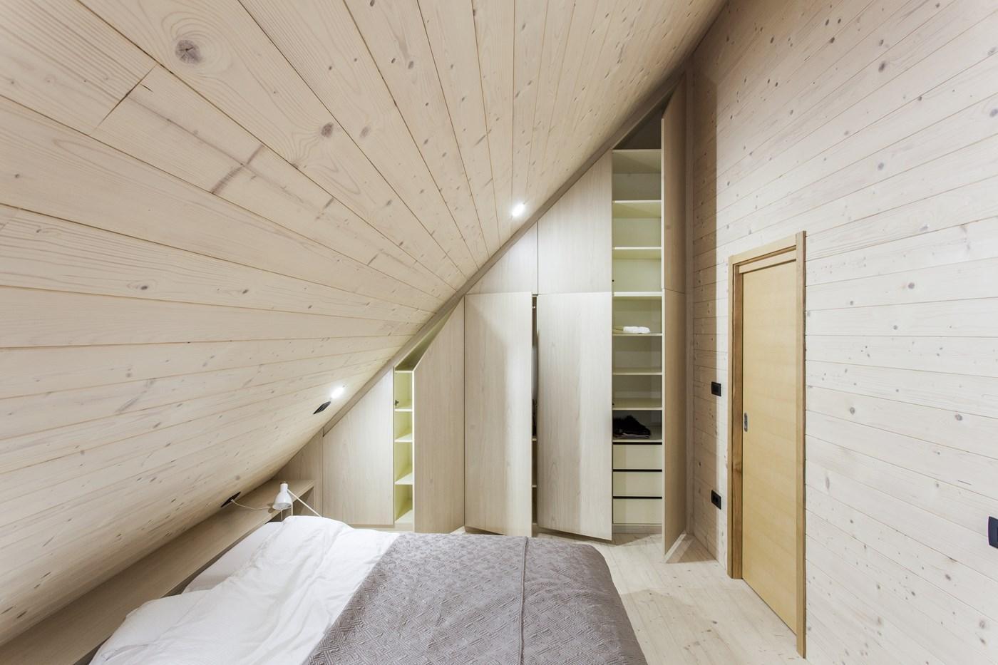 wooden bedroom and closet design