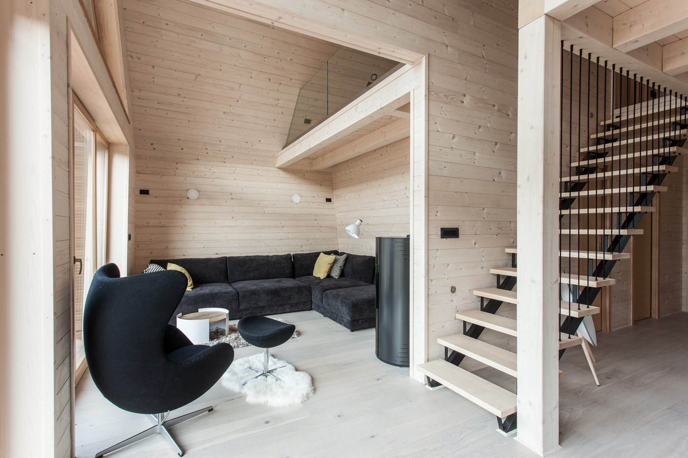 Wooden stairs, beam, wall and floor, living room