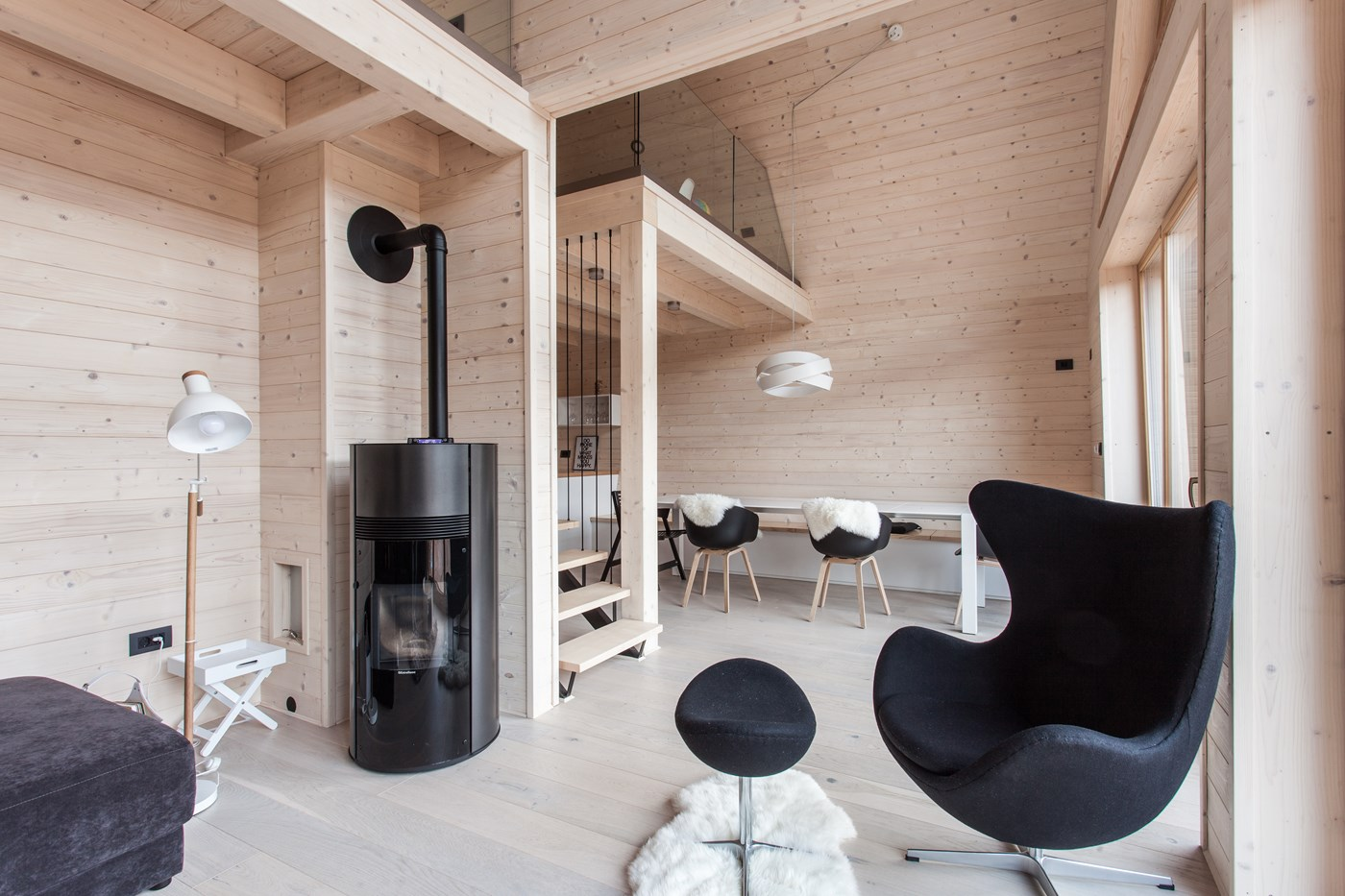 Wooden interior with fireplace, cabin design