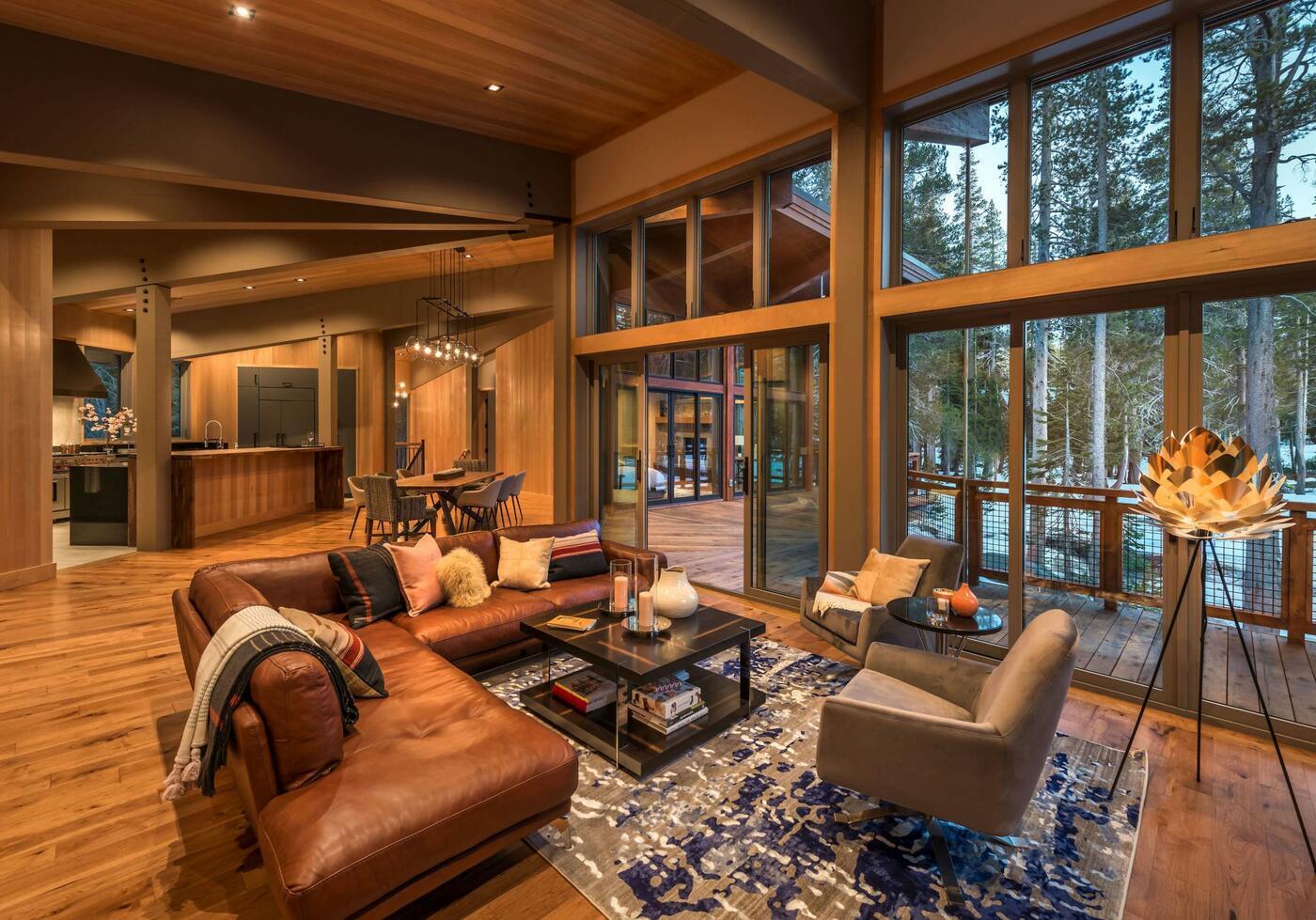 Wood floor, walls and ceiling, interior design ideas