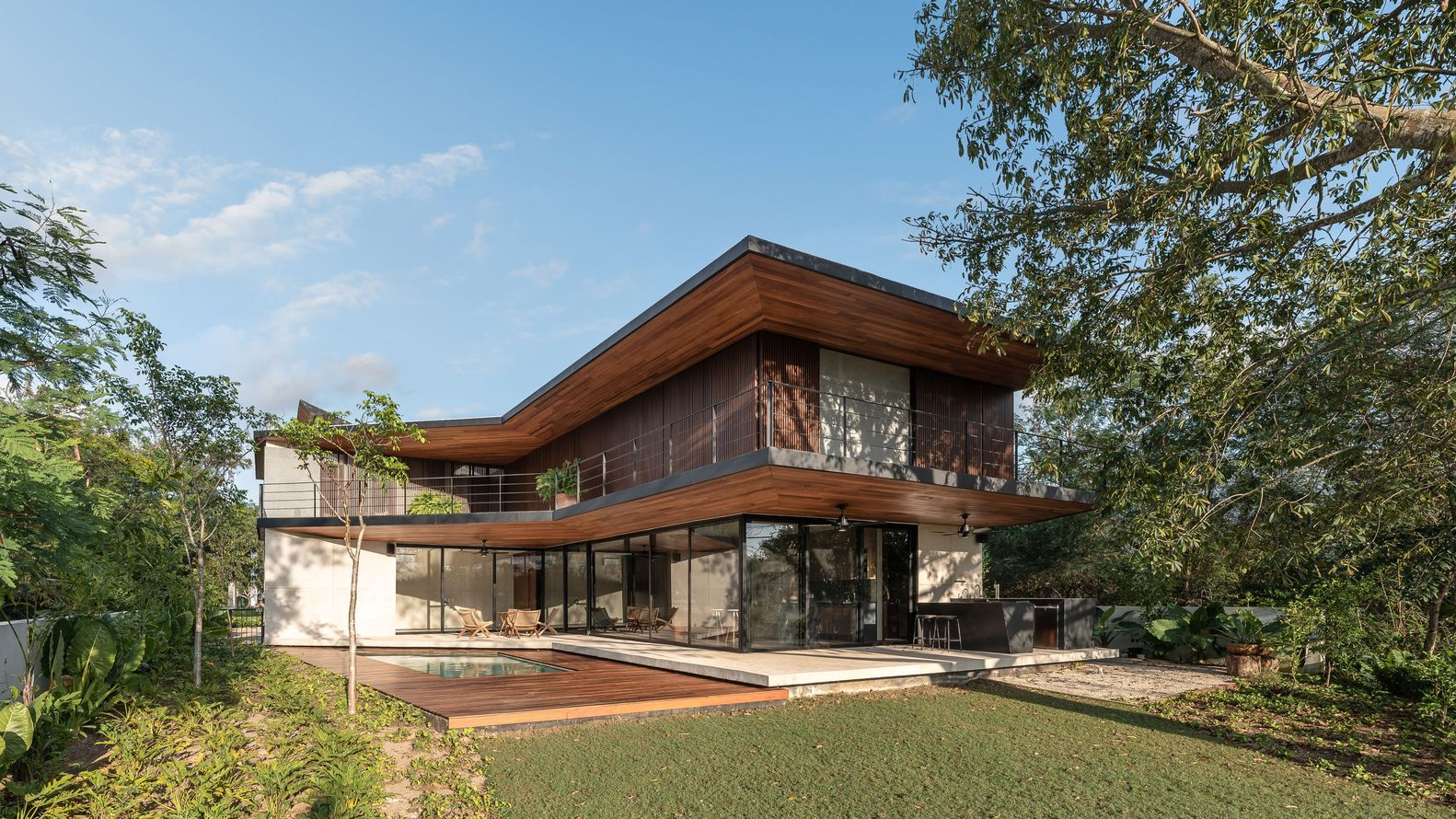 Wood house exterior, cozy backyard
