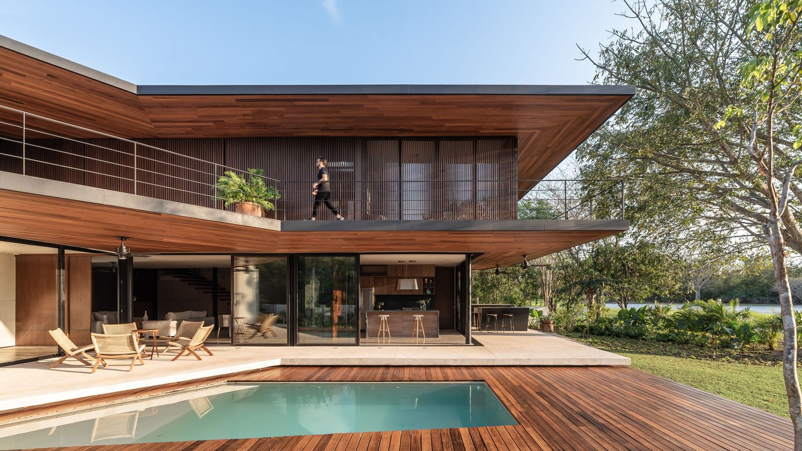Wood design pool and house