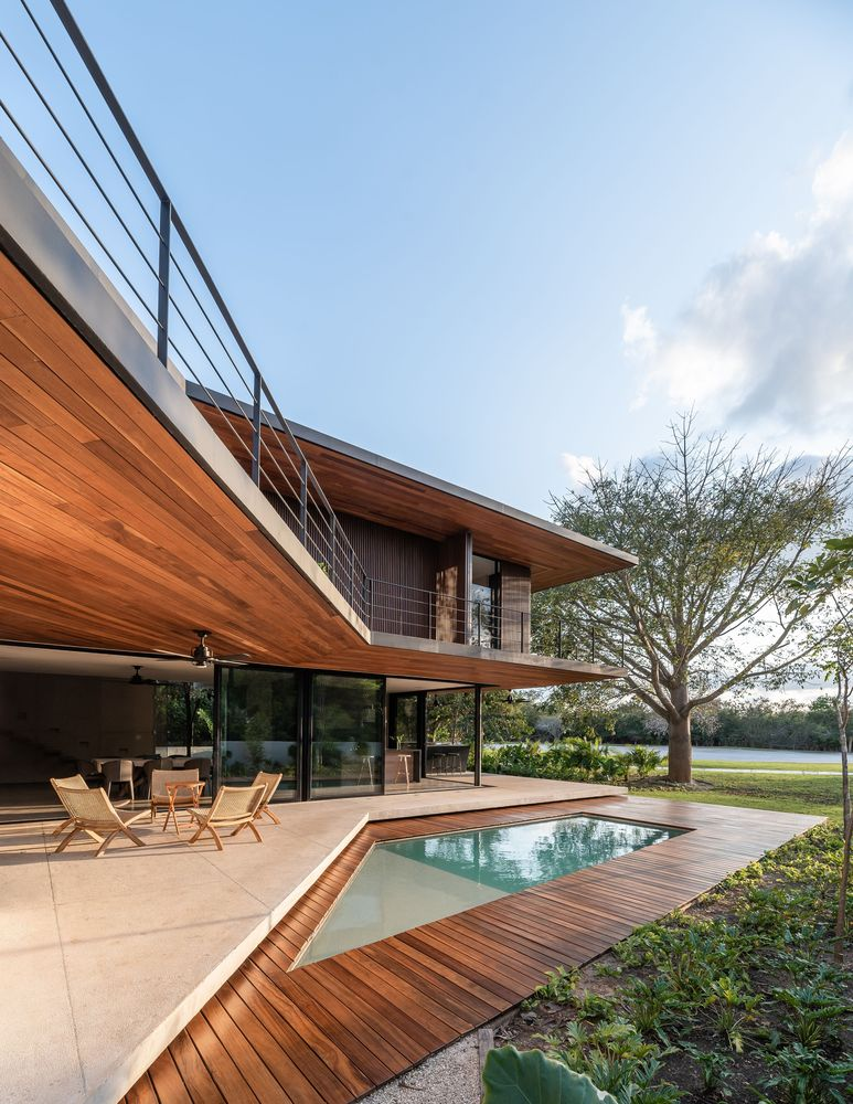 House with pool, exterior design